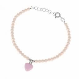 Bracelet en argent rhodié et laque, perles synthètiques