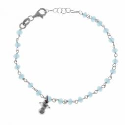 Bracelet en argent rhodié et cristaux de synthèse