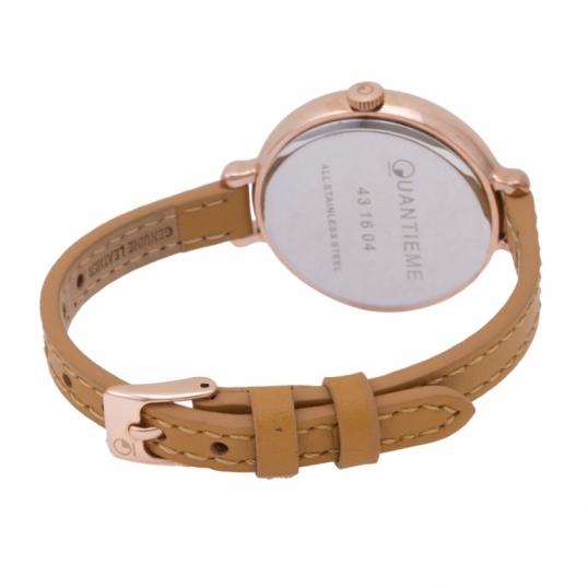 Montre femme, boîte acier doré rose, bracelet cuir et verre minéral