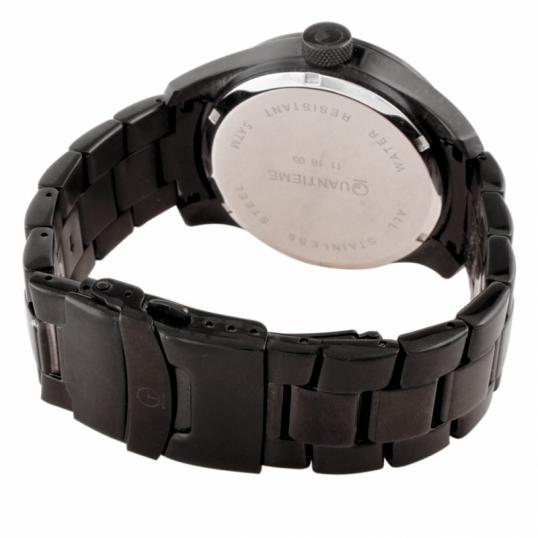 Montre homme étanche 50m, boîte et bracelet en acier noir, verre minéral