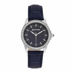 Montre femme, boîte acier et cristaux de synthèse, bracelet cuir et verre minéral