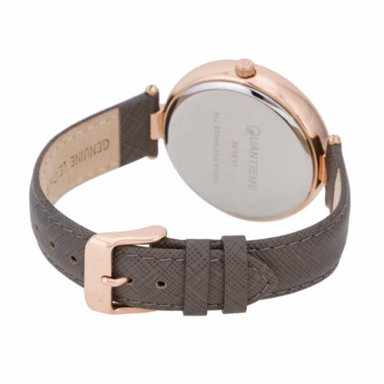 Montre femme, boîte en acier doré rose, bracelet cuir et verre minéral