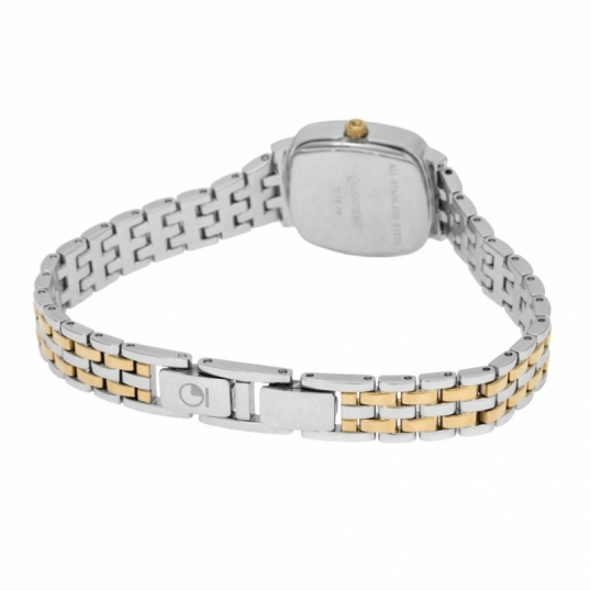 Montre femme, boîte et bracelet acier et acier doré, verre minéral