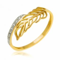 Bague en or jaune rhodié et diamants, feuille