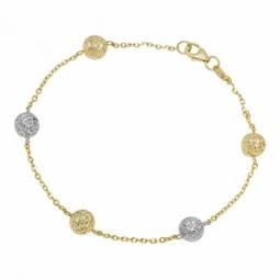 Bracelet en deux ors et boules facetées