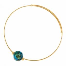 Bracelet jonc en or jaune et verre de venise