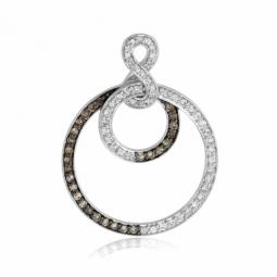 Pendentif en or gris rhodié, diamants blancs et bruns