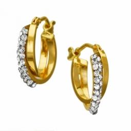 Boucles d'oreilles en or jaune et cristaux de synthèse
