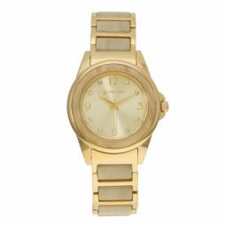 Montre femme, boîte en acier doré et cristaux de synthèse, bracelet en acier doré et acetate, verre minéral