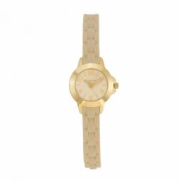 Montre femme, boîte acier doré, bracelet en silicone et verre minéral