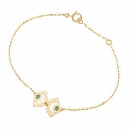 Bracelet en or jaune et laque bleue