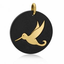 Pendentif en or jaune et bois, colibri