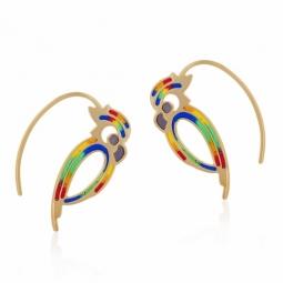 Boucles d'oreilles en or jaune et laque, perroquet
