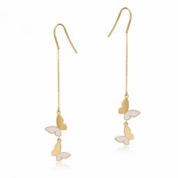 Boucles d'oreilles en or jaune et laque, papillons