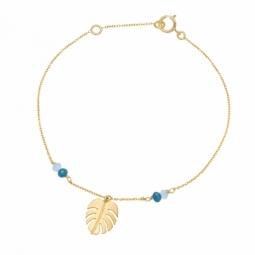 Bracelet en or jaune et verre