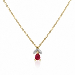 Collier en or jaune rhodié, rubis et diamants