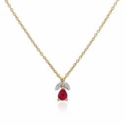 Collier en or jaune rhodié, rubis et diamants