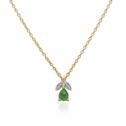Collier en or jaune rhodié, émeraude et diamants