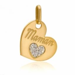 Pendentif en or jaune, coeur et laque pailletée
