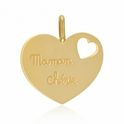 Pendentif en or jaune, maman chérie