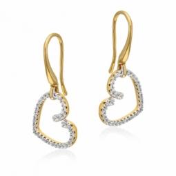 Boucles d'oreilles en plaqué or et rhodié,  oxydes de zirconium, coeur