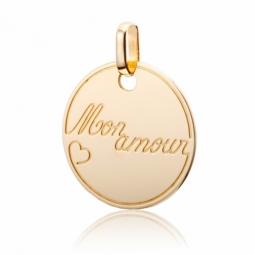 """Pendentif plaque ronde en or jaune, """"Mon amour"""""""