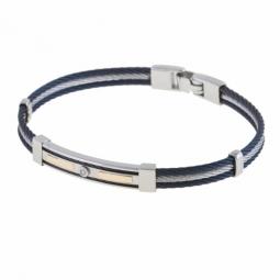 Bracelet en or jaune, acier et diamant