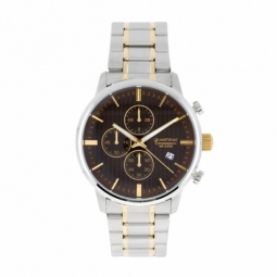 Chronographe homme étanche 50m, boîte et bracelet en acier et acier doré, verre minéral