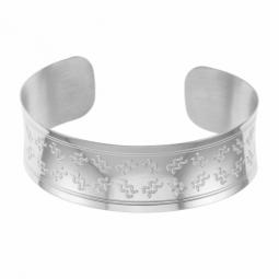Bracelet jonc en argent rhodié,verseau