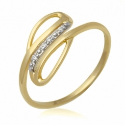 Bague or jaune rhodié et diamants