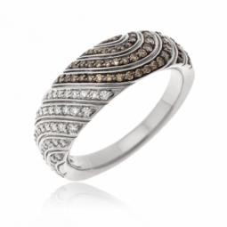 Bague  or gris et rhodié,diamants blancs et bruns