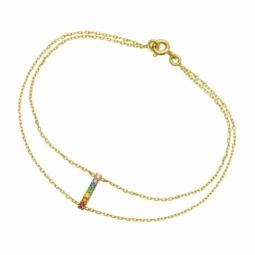 Bracelet en or jaune et oxydes de zirconium couleur