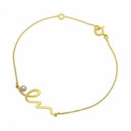 Bracelet en or jaune et perle de culture