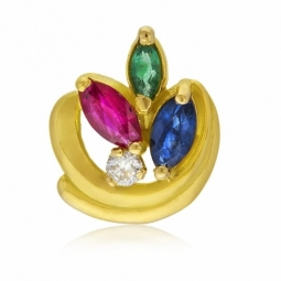 Pendentif en or jaune, saphir rubis émeraude et diamant
