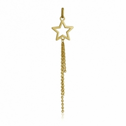Pendentif en or jaune, étoile et chaînes en pampill