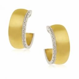 Boucles d'oreilles en or jaune rhodié, diamants