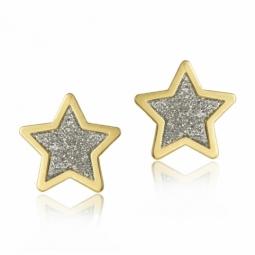 Boucles d'oreilles or jaune et laque paillettée, étoile