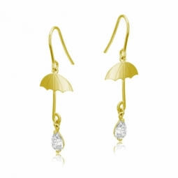 Boucles d'oreilles en or jaune et oxyde de zirconium, parapluie