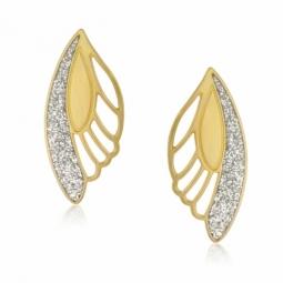 Boucles d'oreilles en or jaune et laque pailletée, ailes