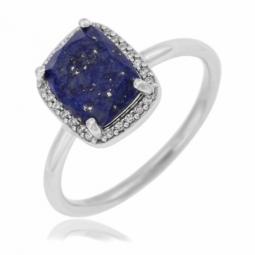Bague en argent rhodié, lapis lazuli et oxydes de zirconium