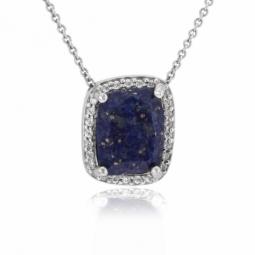 Collier en argent rhodié, lapis lazuli et oxydes de zirconium