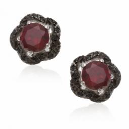 Boucles d'oreilles en argent rhodié et rhodié noir, oxydes de zirconium