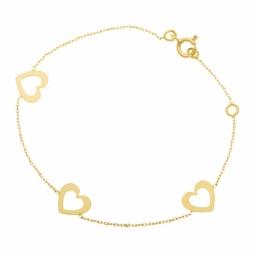 Bracelet en or jaune, coeurs ajourés