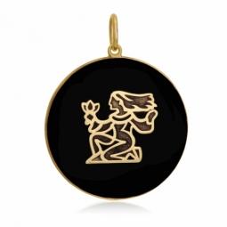 Pendentif or jaune et onyx, signe vierge