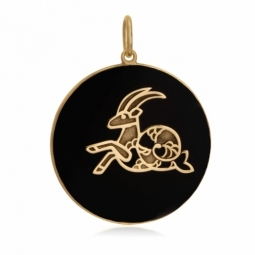Pendentif or jaune et onyx, signe capricorne