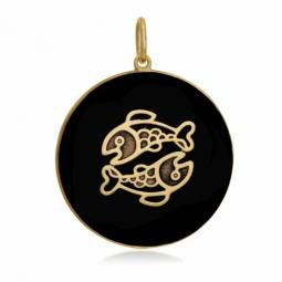Pendentif or jaune et onyx, signe poissons