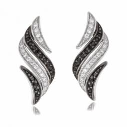 Boucles d'oreilles en argent rhodié et rhodié noir, oxydes de zirconium blancs et noirs