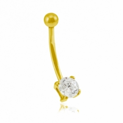 Piercing nombril en or jaune et oxyde de zirconium