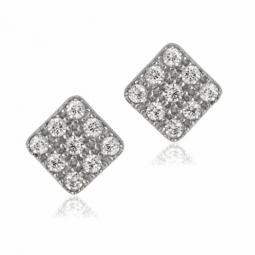 Boucles d'oreilles en or gris et oxydes de zirconium, carré