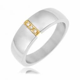 Bague en or et acier, diamants